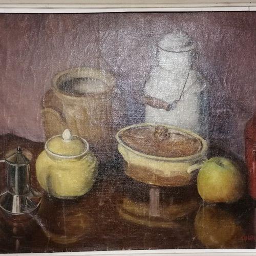 """Serge KANTORUWICZ """"nature morte à la pomme"""" huile sur toile. 43x59 cm"""