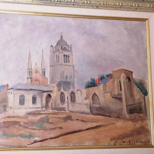 莫里斯 阿塞林(1882 1947)《有教堂的风景》,布面油画,右下方有签名。38x45厘米