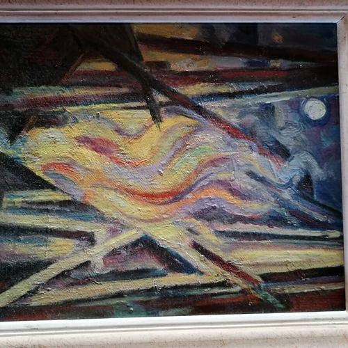 """André RAGEADE """"composition"""" huile sur toile signée 27x22 cm"""