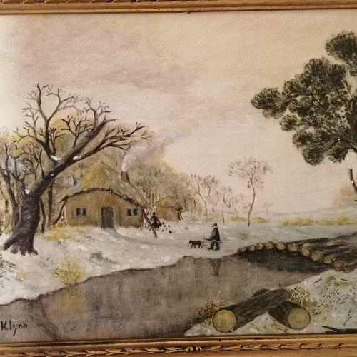 """NÉRÉ """"la roulotte"""",板面油画,日期为1974年;附KLYNN """"paysage de neige """"布面油画,37x49厘米"""