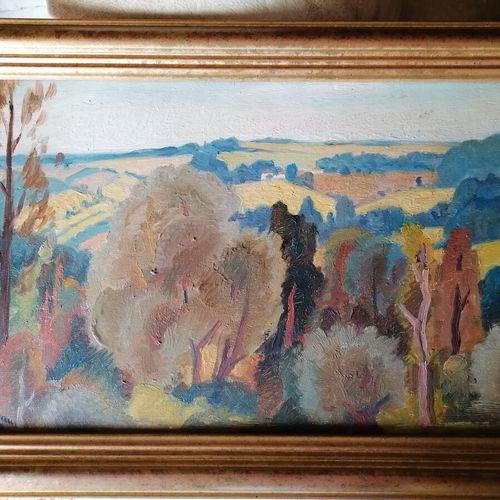 Henri CLEMENT SERVEAU (1886 1972)《乡村风景》,油画板。27x45厘米