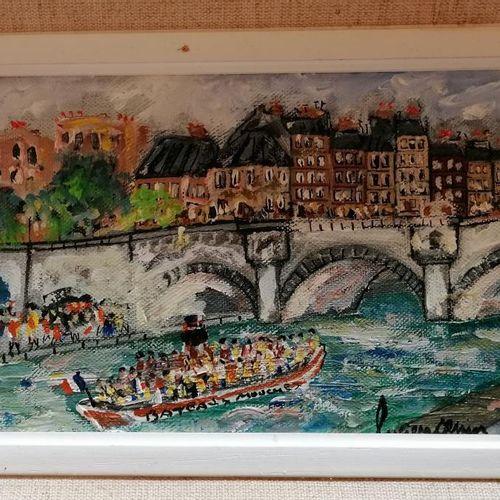 """Lucien GENIN (1894 1953) """"Pont de Paris"""", huile sur toile signée en bas à droite…"""