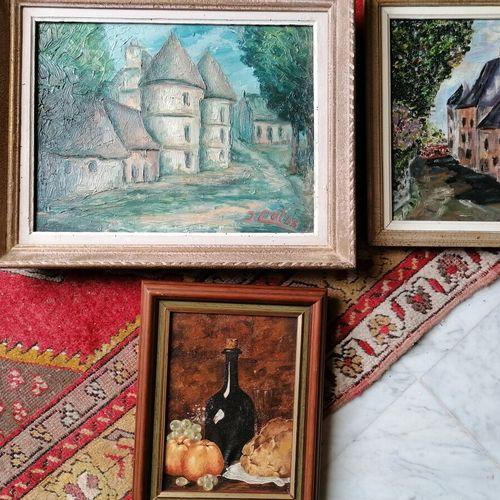 一套3幅画,分别代表村庄景色、酒瓶的静物和城堡的入口。高20厘米