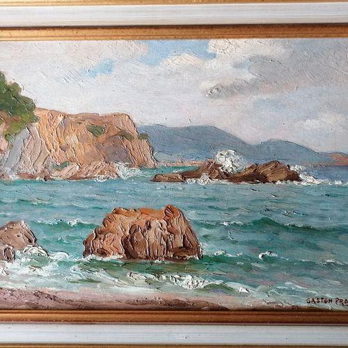 "Gaston PROST (1881 1967) ""Ste Marguerite (Var)的岩石"",面板油画,右下角签名。27x41厘米"