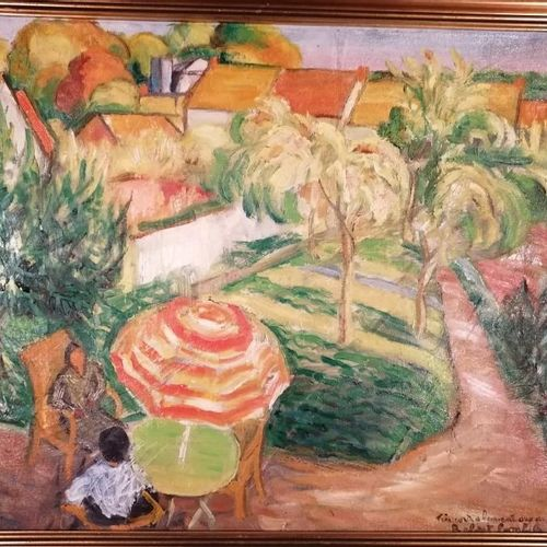 """Robert BONFILS """"vue du jardin de Robert Ranc à Boissy sous St Yon"""" huile sur toi…"""