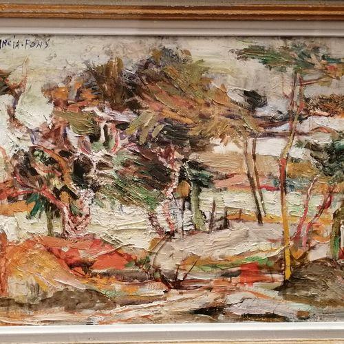 皮埃尔 加西亚 冯斯《海边的松树林》布面油画,左上方有签名。33 x 46 厘米