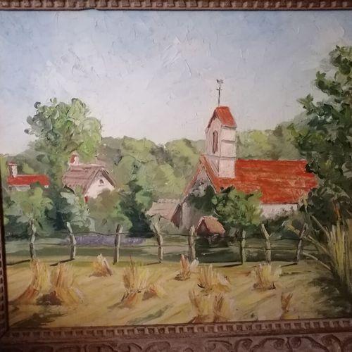 """Michel BATLLE (1946) """"le clocher de l'église"""", huile sur isorel signée en bas à …"""