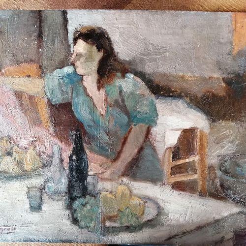 "André RAGEADE ""Interior n°4"",油画板,左下角有签名 27x35 cm"