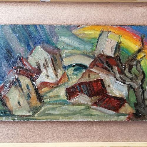 André RAGEADE《有彩虹的风景》板面油画13x25厘米