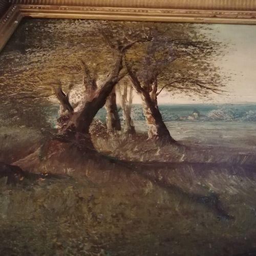 "HENRY ""Promenade au champ"", huile sur toile. 39x61 cm (rustines au dos, restaura…"