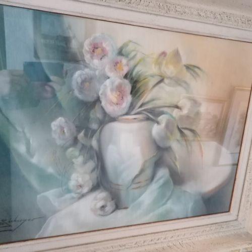 """Suzanne SEEBERGER ? """"bouquet de fleurs"""" pastel. 40x50 cm"""