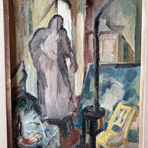 """André RAGEADE """"scène d'intérieur à la chaise jaune"""", huile sur carton 34x26 cm"""