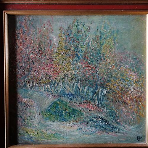 """Etienne PICARD (1935 1995) """"sous bois """"布面油画,背面有图案、标题和签名,28x30厘米"""