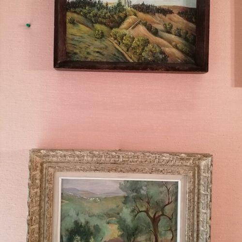 """J. KNOCH """"église en haut de la colline"""", huile sur isorel 20x30 cm. On y joint R…"""
