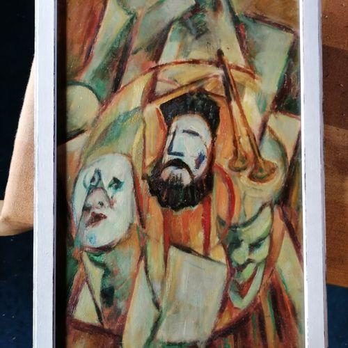 """André RAGEADE """"masques et trompette"""" huile sur panneau 54x32 cm"""