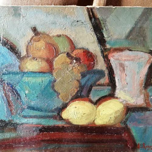 André RAGEADE《柠檬和葡萄的静物》,纸板油画,右下角签名 28x35 cm