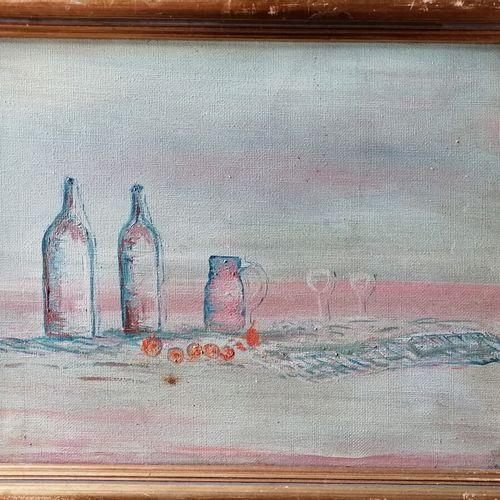 """Etienne PICARD (1935 1995) """"nature morte aux bouteilles"""", huile sur toile monogr…"""