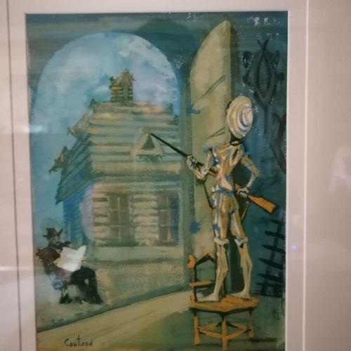 """Lucien COUTAUD (1904 1977) """"La sentinelle"""", gouache sur papier. 25x18,5 cm"""