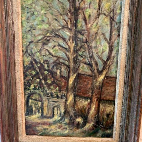 """Anonyme """"Paysage aux arbres"""", huile sur toile, situé à Bouygon. 33x21 cm"""