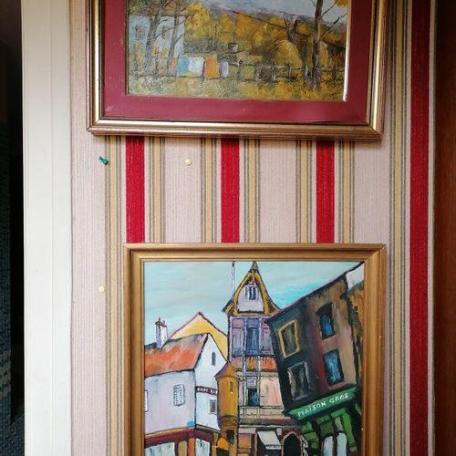 "JAF ""Maison Gros"",布面油画,40,30厘米。签名为SIADURO的布面油画 ""山水"",20,30厘米"