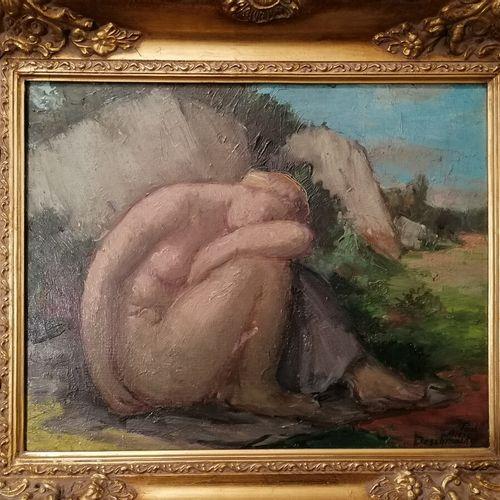 "Paul Alex DESCHMAKER (1889 1973) ""Nude crouching in a landscape"" 布面油画,右下方有签名。32x…"