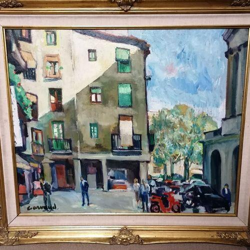 "Claude ARVAUD ""place du village"" 布面油画,左下角签名 60x72 cm"