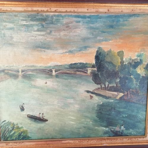 """(地下室)Lewis Désiré DOT """"la Seine au vert galant"""",右下角有签名的油画,日期为42。"""
