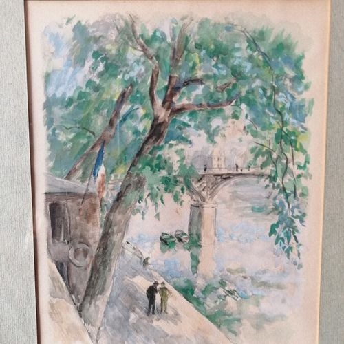 """Charles Désiré BERTHOLD MAHN (1881 1975) """"Pont des Arts""""gouache sur papier signé…"""