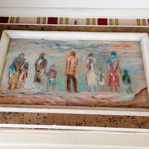 """Etienne PICARD (1935 1995) """"Promenade à la plage"""", huile sur panneau signée en b…"""