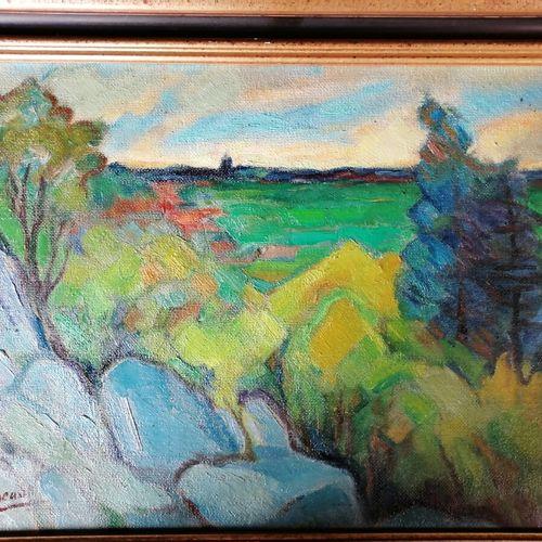 """André RAGEADE """"paysage aux rochers bleus """" huile sur isorel 37x53 cm"""