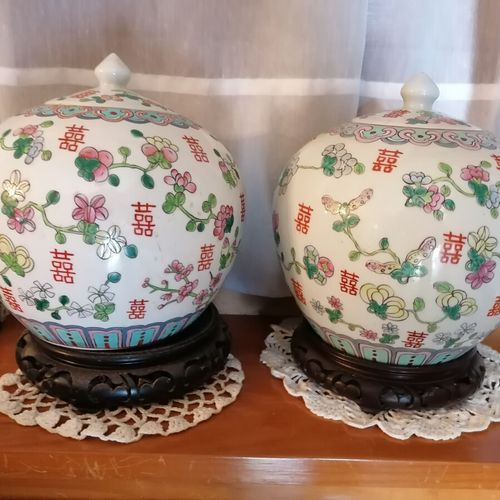 CHINA Pair of porcelain ginger pots with chrysanthemum and branch decoration.高22…