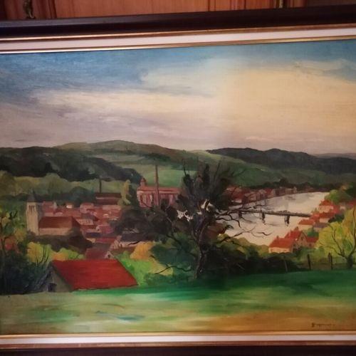 """Jean FEUGEREUX (1923 1992) """"Village au bord d'un fleuve"""", huile sur toile signée…"""