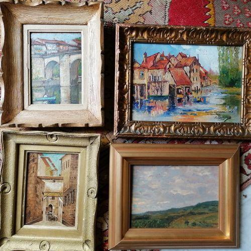 "Jacques WEISMANN (1878)或BURQUIN ? 及其他 一组4张帆布或纸板上的tableautins cpt油画 ""风景 ""和 ""河岸""。高…"