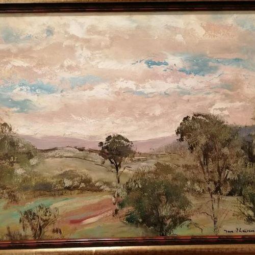 J.THEVENET《有树的风景》纸板油画 32x45厘米