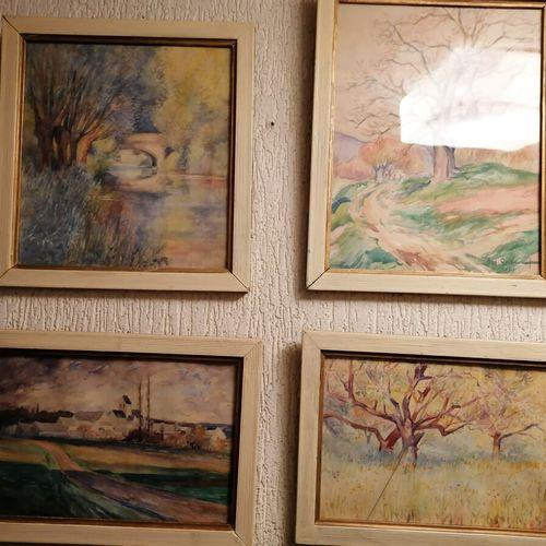 格里布瓦 奥古斯特4幅水彩画风景画