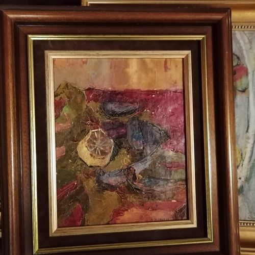 """(sous sol au fond) 3 """"nature mortes aux fruits"""" huile sur toiles dont 2 signées …"""