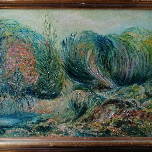 """Etienne PICARD (1935 1995) """"les fougères """"布面油画,背面有签名和标题,有文字说明。29x39厘米"""