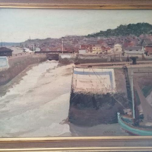 """L. ROSSAT """"le port d'Honfleur"""", huile sur panneau signée en bas à gauche. 43 x53…"""