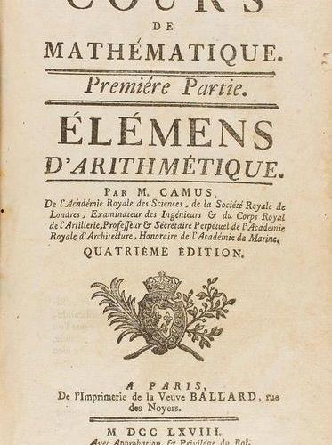 1766 1769 . LIVRE : (MATHÉMATIQUES ). CAMUS, M. : COUS DE MATHEMATIQUES. 4 VOL. …