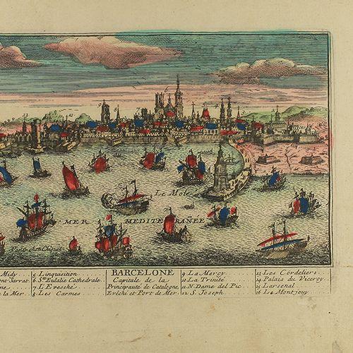 1741 CA. GRAVURE : (BARCELONE) . CHEREAU, JACQUES : BARCELONE . Gravure en coule…