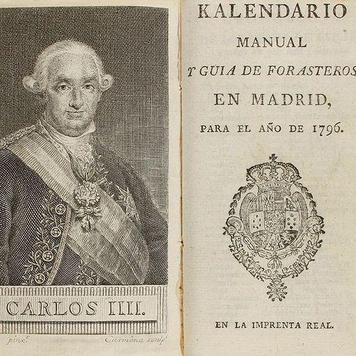 1796. LIVRE : (VIAJES MADRID ). MANUEL KALENDAR ET GUIDE POUR LES ÉTRANGERS À MA…