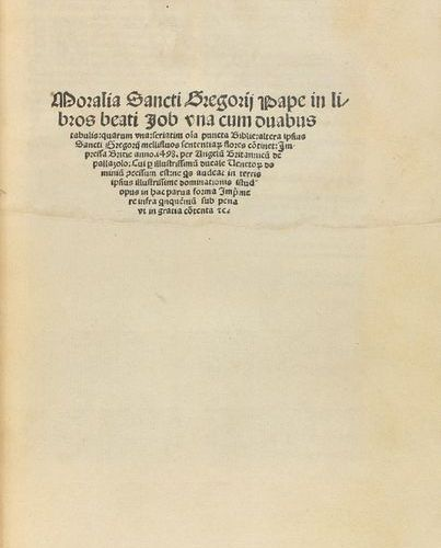 1598 . BOOK: (INCUNABULUM ). GREGORII PAPE, SANCTI [GREGORIUS I]: MORALIA (...) …