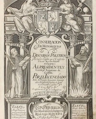 1624 . BOOK: (HISTORY ). FERNANDEZ NAVARRETE, PEDRO: CONSERVATION OF MONARCHIES.…