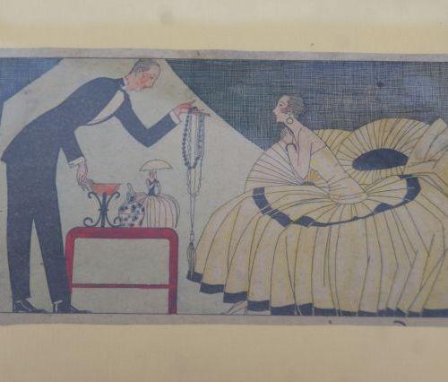 Lot de 3 pièces encadrées contenant des reproductions, de 18 à 31 cm