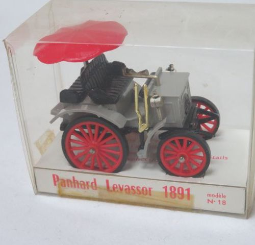Set of four model cars, including a Delahaye, a 1992 Peugeot, and Panhard Levass…