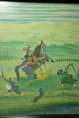 Peinture sur soie persane XIXème figurant une chasse au tigre 38x50cm . Encadrée…