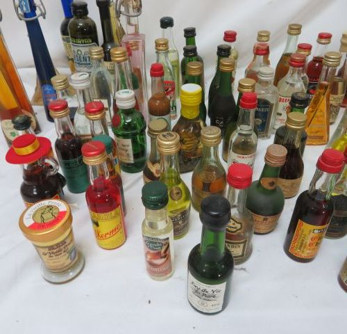 Batch including about sixty mignonettes of various alcohols, including cognacs.