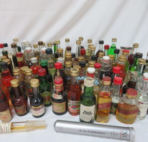 Batch comprising fifty mignonettes of various alcohols.