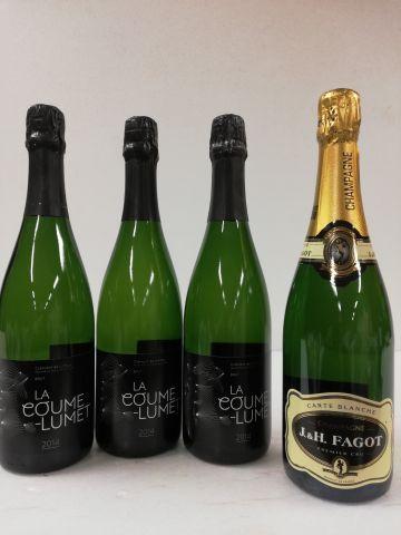 Batch of 4 bottles: 1 Champagne 1er cru Carte blanche. J and H. Fagot harvesting…