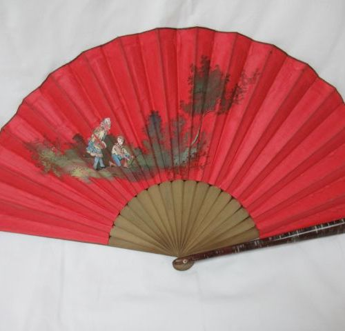 Fan in lacquered wood, covered with a painted fabric with children's play decora…